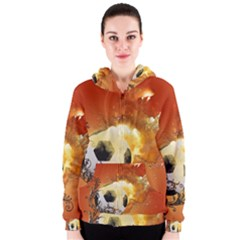 Soccer With Fire And Flame And Floral Elelements Women s Zipper Hoodies