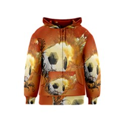 Soccer With Fire And Flame And Floral Elelements Kids Zipper Hoodies