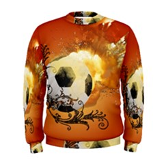 Soccer With Fire And Flame And Floral Elelements Men s Sweatshirts