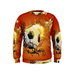 Soccer With Fire And Flame And Floral Elelements Boys  Sweatshirts