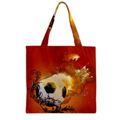 Soccer With Fire And Flame And Floral Elelements Zipper Grocery Tote Bags