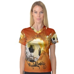 Soccer With Fire And Flame And Floral Elelements Women s V-Neck Sport Mesh Tee