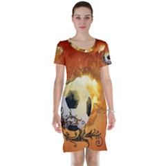 Soccer With Fire And Flame And Floral Elelements Short Sleeve Nightdresses