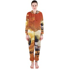 Soccer With Fire And Flame And Floral Elelements Hooded Jumpsuit (Ladies)