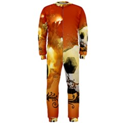 Soccer With Fire And Flame And Floral Elelements OnePiece Jumpsuit (Men)