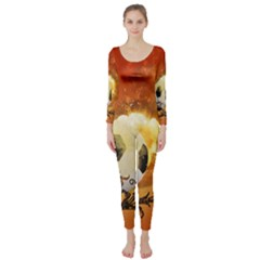 Soccer With Fire And Flame And Floral Elelements Long Sleeve Catsuit