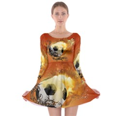 Soccer With Fire And Flame And Floral Elelements Long Sleeve Skater Dress