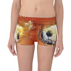 Soccer With Fire And Flame And Floral Elelements Boyleg Bikini Bottoms
