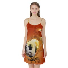 Soccer With Fire And Flame And Floral Elelements Satin Night Slip