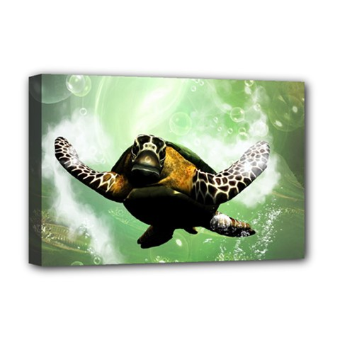 Beautiful Seaturtle With Bubbles Deluxe Canvas 18  x 12