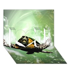 Beautiful Seaturtle With Bubbles I Love You 3d Greeting Card (7x5)