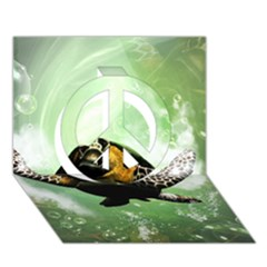 Beautiful Seaturtle With Bubbles Peace Sign 3d Greeting Card (7x5)