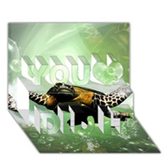 Beautiful Seaturtle With Bubbles You Did It 3d Greeting Card (7x5)