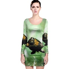 Beautiful Seaturtle With Bubbles Long Sleeve Bodycon Dresses