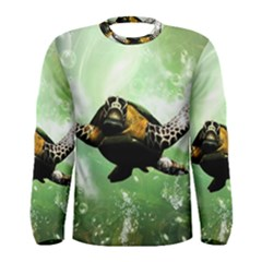 Beautiful Seaturtle With Bubbles Men s Long Sleeve T Shirts