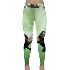 Beautiful Seaturtle With Bubbles Yoga Leggings