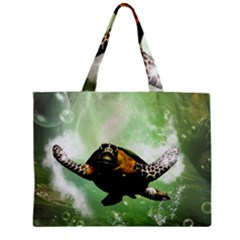 Beautiful Seaturtle With Bubbles Zipper Tiny Tote Bags