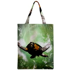 Beautiful Seaturtle With Bubbles Zipper Classic Tote Bags