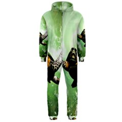 Beautiful Seaturtle With Bubbles Hooded Jumpsuit (Men)