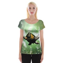 Beautiful Seaturtle With Bubbles Women s Cap Sleeve Top