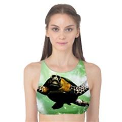 Beautiful Seaturtle With Bubbles Tank Bikini Top