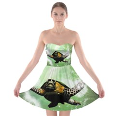 Beautiful Seaturtle With Bubbles Strapless Bra Top Dress