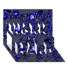 Sci Fi Fantasy Cosmos Blue WORK HARD 3D Greeting Card (7x5)