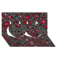 Sci Fi Fantasy Cosmos Red  Twin Hearts 3d Greeting Card (8x4)