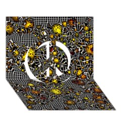 Sci Fi Fantasy Cosmos Yellow Peace Sign 3d Greeting Card (7x5)