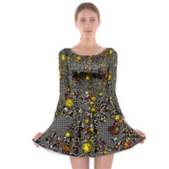 Sci Fi Fantasy Cosmos Yellow Long Sleeve Skater Dress