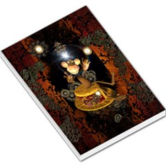 Steampunk, Funny Monkey With Clocks And Gears Large Memo Pads