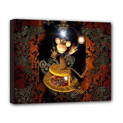 Steampunk, Funny Monkey With Clocks And Gears Deluxe Canvas 20  x 16