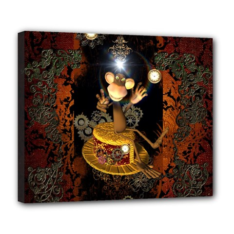 Steampunk, Funny Monkey With Clocks And Gears Deluxe Canvas 24  x 20