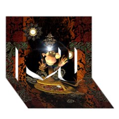 Steampunk, Funny Monkey With Clocks And Gears I Love You 3d Greeting Card (7x5)