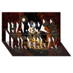 Steampunk, Funny Monkey With Clocks And Gears Happy Birthday 3D Greeting Card (8x4)