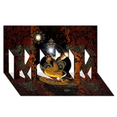 Steampunk, Funny Monkey With Clocks And Gears MOM 3D Greeting Card (8x4)