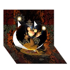 Steampunk, Funny Monkey With Clocks And Gears Heart 3D Greeting Card (7x5)