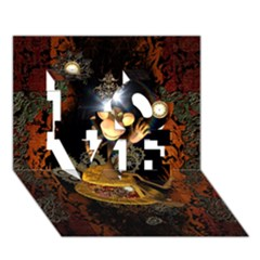 Steampunk, Funny Monkey With Clocks And Gears LOVE 3D Greeting Card (7x5)