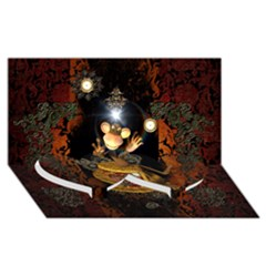 Steampunk, Funny Monkey With Clocks And Gears Twin Heart Bottom 3D Greeting Card (8x4)