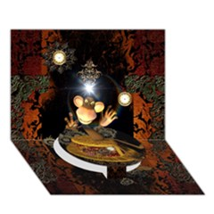 Steampunk, Funny Monkey With Clocks And Gears Circle Bottom 3d Greeting Card (7x5)