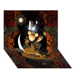 Steampunk, Funny Monkey With Clocks And Gears Apple 3d Greeting Card (7x5)