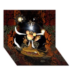 Steampunk, Funny Monkey With Clocks And Gears Clover 3D Greeting Card (7x5)