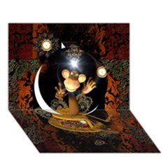 Steampunk, Funny Monkey With Clocks And Gears Circle 3D Greeting Card (7x5)