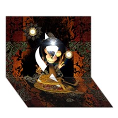 Steampunk, Funny Monkey With Clocks And Gears Ribbon 3D Greeting Card (7x5)