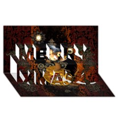 Steampunk, Funny Monkey With Clocks And Gears Merry Xmas 3d Greeting Card (8x4)