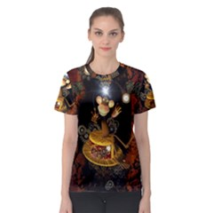 Steampunk, Funny Monkey With Clocks And Gears Women s Sport Mesh Tees