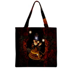 Steampunk, Funny Monkey With Clocks And Gears Grocery Tote Bags