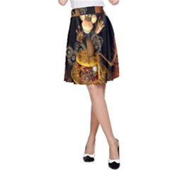 Steampunk, Funny Monkey With Clocks And Gears A-Line Skirts