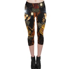 Steampunk, Funny Monkey With Clocks And Gears Capri Leggings