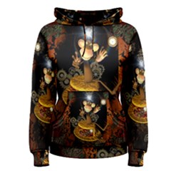 Steampunk, Funny Monkey With Clocks And Gears Women s Pullover Hoodies